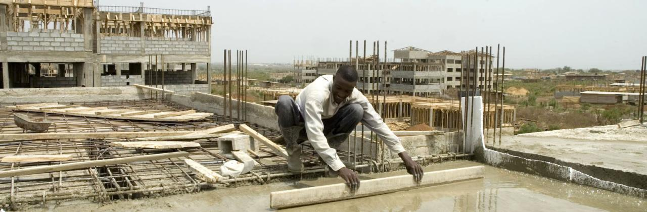 House construction. House construction outside Accra
